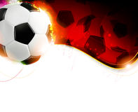 Soccer ball on wavy red  background Royalty Free Stock Photos