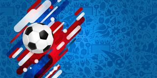 Soccer ball web banner for a special football game. Soccer web banner for special football match. Realistic 3d ball illustration with festive color background Stock Image
