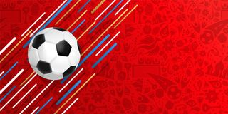 Soccer ball web banner for a special football game. Soccer web banner for special football match. Realistic 3d ball illustration with festive color background Stock Photos