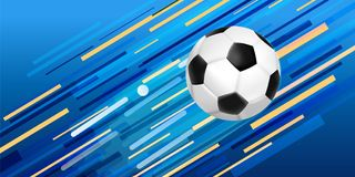 Soccer ball web banner for sport game event. Soccer event illustration, web banner design of football ball with festive color background. EPS10 vector Royalty Free Stock Images