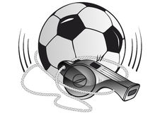 Soccer ball and whistle Stock Photography