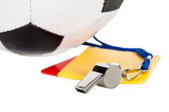 Soccer ball, whistle and cards Stock Photo