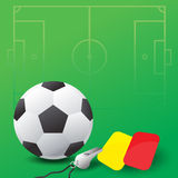 Soccer ball, whistle and red and yellow cards. Vector illustration Royalty Free Stock Photos