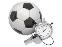 Soccer ball with whistle and stopwatch, 3D rendering. Soccer ball with whistle and stopwatch, 3D isolated on white background vector illustration