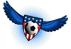 Soccer ball with wings Royalty Free Stock Images