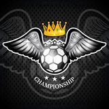 Soccer ball with wings and crown. Vector sport logo for any team. And championship vector illustration