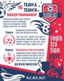 Soccer ball, winner cup poster for football sport Stock Photos
