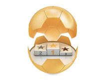 Soccer ball and winner podium Stock Images
