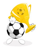 Soccer ball the winner with trophy Stock Image