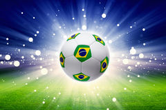 Soccer Ball With Brazil Flag Stock Photo
