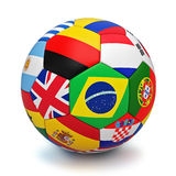 Soccer ball with world countries flags stock illustration