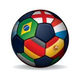 Soccer Ball with World Flags Stock Photography