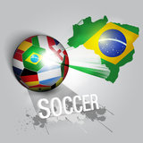 Soccer ball with world flags. Illustration and painting Stock Image