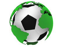 Soccer ball with world map Royalty Free Stock Photo