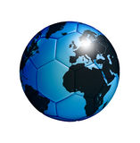Soccer ball with world map isolated over white Royalty Free Stock Photos