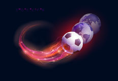 Soccer ball and world spheres Royalty Free Stock Images