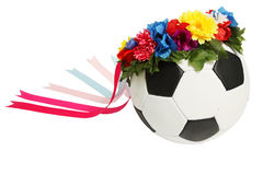 Soccer ball in wreath Stock Image