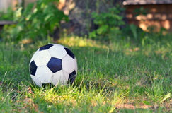 Soccer Ball In Yard. Soccer ball in back yard on grass Stock Images