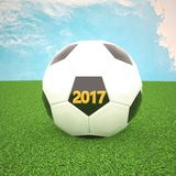 Soccer ball with 2017 year. 3d rendering Stock Photos