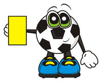 Soccer ball yellow card Stock Images