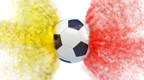 Soccer ball - yellow and red blast Royalty Free Stock Photo