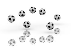 Soccer Balls. A 3d image of soccer balls bouncing group stock images