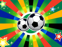 Soccer balls. Over abstract background in South Africa flag colors Stock Photos