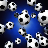 Soccer balls. 3d rendering of a lot of soccer balls over a blue glow background Royalty Free Stock Photography