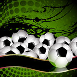 Soccer balls. Banner with a large Number of soccer balls on a dirty background royalty free illustration