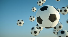 Soccer balls. In the sky. 3D render Royalty Free Stock Photo