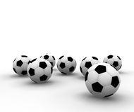 Soccer balls. Isolated soccer balls - 3d render illustration Stock Photos