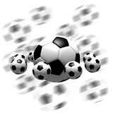Soccer balls. Isolated soccer balls in the air - 3d illustration Stock Photos