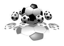 Soccer balls. Isolated soccer balls - 3d illustration Royalty Free Stock Images