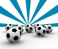 Soccer balls. On blue lines background Royalty Free Stock Image