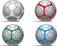 Soccer balls. In a variety of colors Royalty Free Stock Images