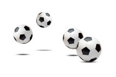 Soccer balls. Bouncing on white background stock photo