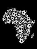 Soccer balls in Africa shape. Soccer balls and Africa continent shape 3d generated stock illustration