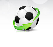 Soccer balls with arrows. Soccer balls with green arrows. Detailed icon Stock Photography
