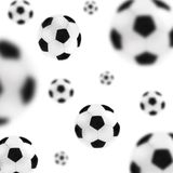 Soccer balls background. Isolated soccer balls in the air Stock Images