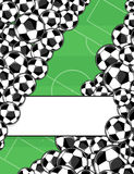 Soccer balls background. Soccer balls border on green playing field background Stock Images