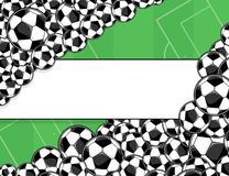 Soccer balls banner background. Soccer balls border on green playing field background Royalty Free Stock Images
