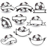 Soccer balls with banners Royalty Free Stock Image