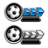 Soccer balls on blue and white arrow nameplates Stock Photo
