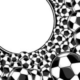 Soccer balls border background Stock Photos