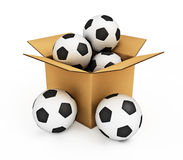 Soccer balls in the box Stock Image