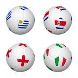 Soccer balls of Brazil 2014, group D Stock Images