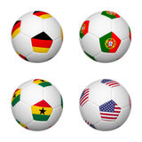 Soccer balls of Brazil 2014, group G. 3D soccer balls of group G teams flags, Brazil 2014. isolated on white Stock Photography