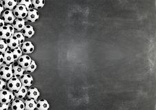 Soccer balls on chalkboard. Background with copy-space.3D rendering Royalty Free Stock Image
