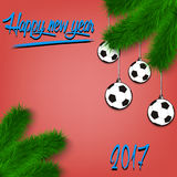 Soccer balls on Christmas tree branch. Congratulations to the New Year and soccer balls hanging on the Christmas tree branch. Vector illustration Stock Photos