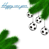 Soccer balls on Christmas tree branch. Congratulations to the New Year and soccer balls hanging on the Christmas tree branch on a white background. Vector Stock Image